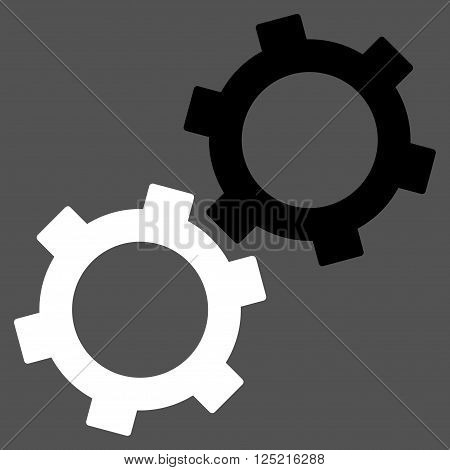 Gears vector icon. Gears icon symbol. Gears icon image. Gears icon picture. Gears pictogram. Flat black and white gears icon. Isolated gears icon graphic. Gears icon illustration.