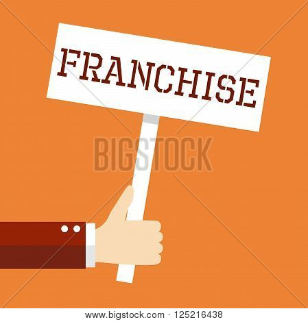 Business concept, Welcome. Hand holding 'Franchise' banner in retro style.