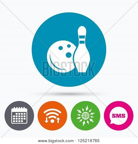 Wifi, Sms and calendar icons. Bowling game sign icon. Ball with pin skittle symbol. Go to web globe.