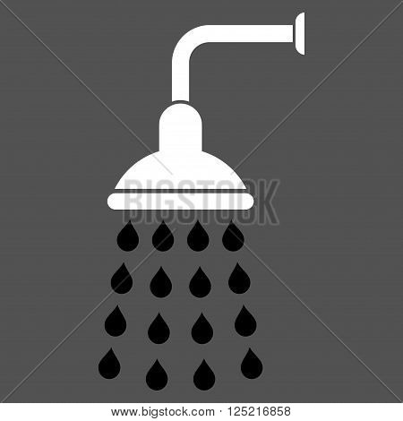 Shower vector icon. Shower icon symbol. Shower icon image. Shower icon picture. Shower pictogram. Flat black and white shower icon. Isolated shower icon graphic. Shower icon illustration.