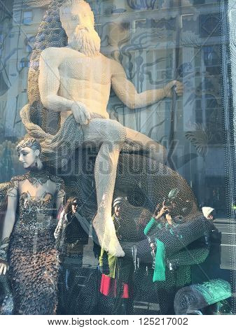 NEW YORK, NY - DEC 20: Holiday window display at Bergdorf Goodman in New York, as seen on Dec 20, 2015. This is the flagship store and attracts tourists in the holiday season for its window displays.