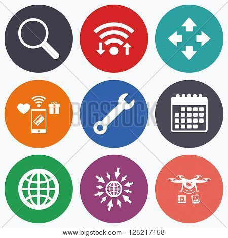 Wifi, mobile payments and drones icons. Magnifier glass and globe search icons. Fullscreen arrows and wrench key repair sign symbols. Calendar symbol.