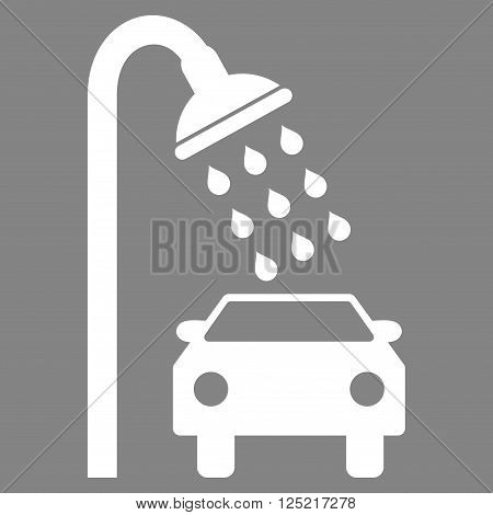 Car Shower vector icon. Car Shower icon symbol. Car Shower icon image. Car Shower icon picture. Car Shower pictogram. Flat white car shower icon. Isolated car shower icon graphic.