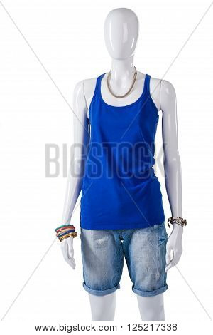 Woman's plain blue tank top. Blue tank top on mannequin. Summer outfit with blue top. Simple cotton garment on showcase.