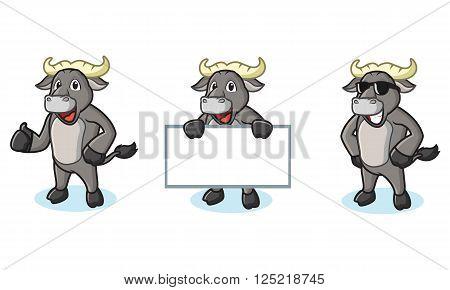 Buffalo Gray Mascot happy, pose and bring board