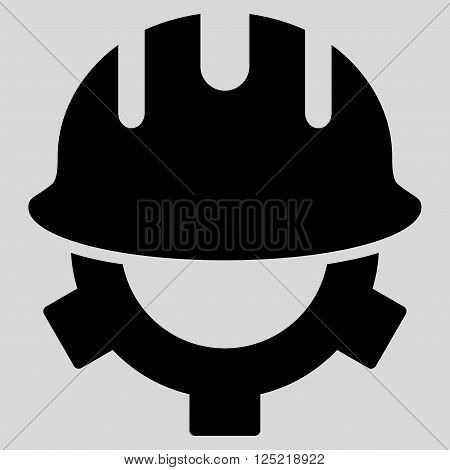 Development Helmet vector icon. Development Helmet icon symbol. Development Helmet icon image. Development Helmet icon picture. Development Helmet pictogram. Flat black development helmet icon.