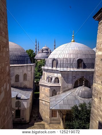 View of the Blue Mosque from the Hagia Sophia Istanbul Turley