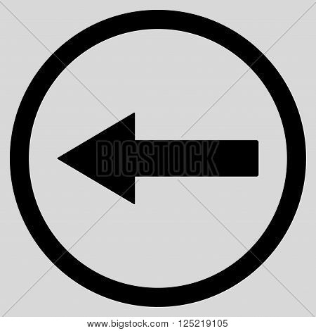 Left Rounded Arrow vector icon. Left Rounded Arrow icon symbol. Left Rounded Arrow icon image. Left Rounded Arrow icon picture. Left Rounded Arrow pictogram. Flat black left rounded arrow icon.