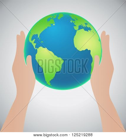 Hands Holding The Earth Save The Earth Concept Credit Map by Nasa