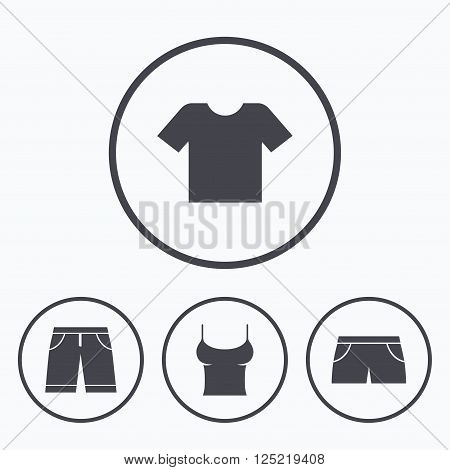 Clothes icons. T-shirt and bermuda shorts signs. Swimming trunks symbol. Icons in circles.