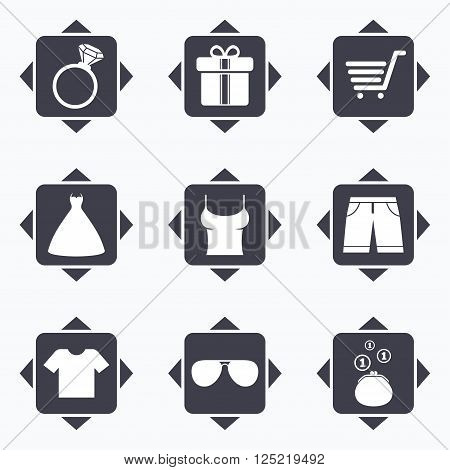 Icons with direction arrows. Clothes, accessories icons. T-shirt, sunglasses signs. Wedding dress and ring symbols. Square buttons.