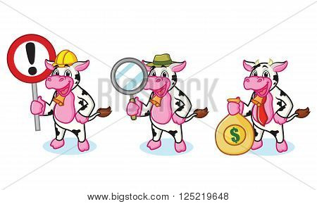 Cow and Bell with sign, money and magnifying