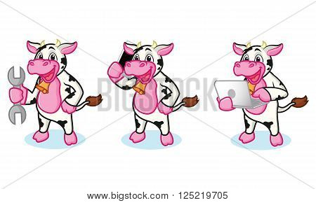 Cow and Bell with laptop, phone and tools