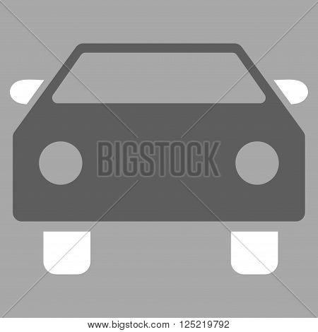Car vector icon. Car icon symbol. Car icon image. Car icon picture. Car pictogram. Flat dark gray and white car icon. Isolated car icon graphic. Car icon illustration.
