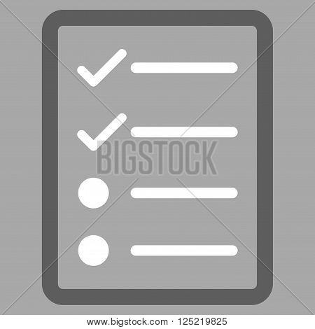 Checklist Page vector icon. Checklist Page icon symbol. Checklist Page icon image. Checklist Page icon picture. Checklist Page pictogram. Flat dark gray and white checklist page icon.