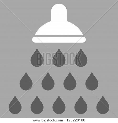 Shower vector icon. Shower icon symbol. Shower icon image. Shower icon picture. Shower pictogram. Flat dark gray and white shower icon. Isolated shower icon graphic. Shower icon illustration.