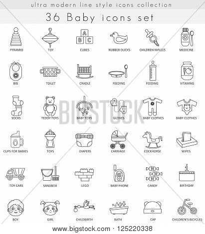 Vector Baby ultra modern outline line icons for web and apps