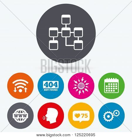 Wifi, like counter and calendar icons. Website database icon. Internet globe and gear signs. 404 page not found symbol. Under construction. Human talk, go to web.