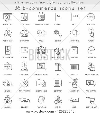 Vector e-commerce ultra modern outline line icons for web and apps