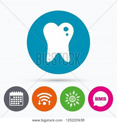 Wifi, Sms and calendar icons. Caries tooth icon. Tooth filling sign. Dental care symbol. Go to web globe.