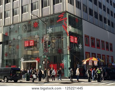 NEW YORK, NY - DEC 20: UNIQLO clothing store on Fifth Avenue in Manhattan, New York, as seen on Dec 20, 2015. UNIQLO Co., Ltd. is a Japanese retailer and subsidiary of Fast Retailing Co., Ltd.