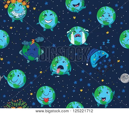 Earth planet globe with emotions background. Cute cartoon Earth globe with emoji seamless pattern. Vector illustration
