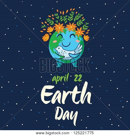 Earth Day. Happy planet Earth with white pigeon symbol of peace on isolated dark blue background. Cute cartoon Earth globe with emoji. Vector illustration card