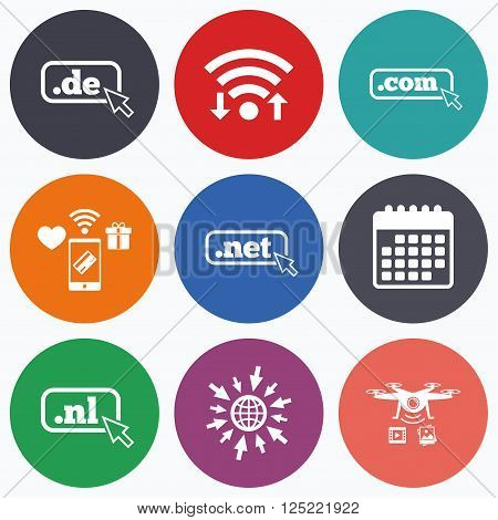 Wifi, mobile payments and drones icons. Top-level internet domain icons. De, Com, Net and Nl symbols with cursor pointer. Unique national DNS names. Calendar symbol.