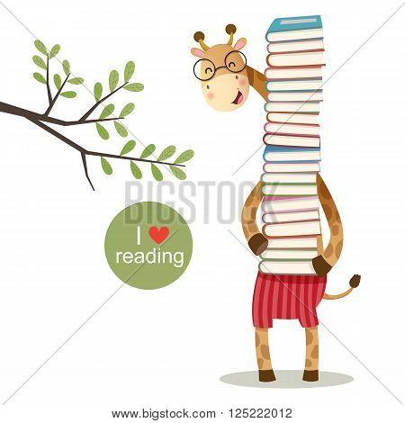 Vector illustration of cartoon giraffe holding a pile of books