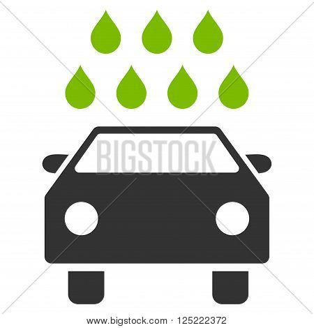 Car Shower vector icon. Car Shower icon symbol. Car Shower icon image. Car Shower icon picture. Car Shower pictogram. Flat eco green and gray car shower icon. Isolated car shower icon graphic.