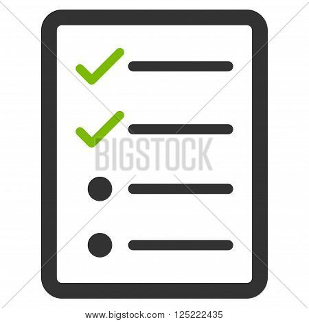 Checklist Page vector icon. Checklist Page icon symbol. Checklist Page icon image. Checklist Page icon picture. Checklist Page pictogram. Flat eco green and gray checklist page icon.
