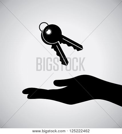 Black Hand With Black Key Icon On Grey Background