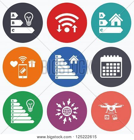 Wifi, mobile payments and drones icons. Energy efficiency icons. Lamp bulb and house building sign symbols. Calendar symbol.