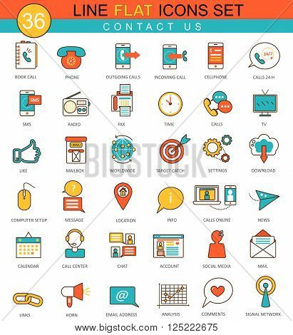 Vector Contact us flat line icon set. Modern elegant style design  for web