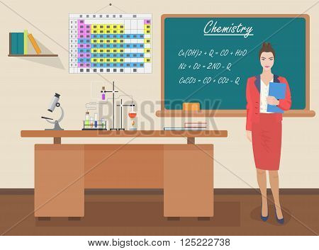 School Chemical female teacher in audience class concept. Students and teachers science and education knowledge vector illustration.