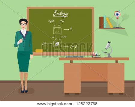 School Biology woman teacher in audience class concept. Students and teachers science and education knowledge vector illustration.