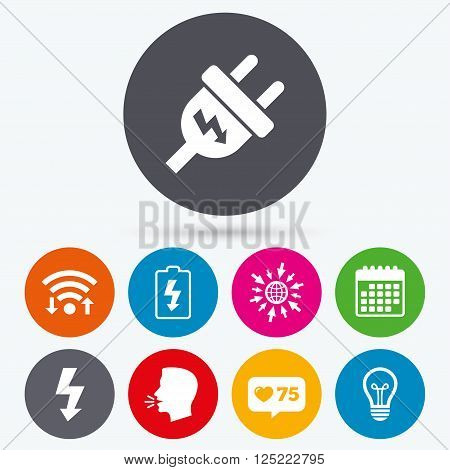 Wifi, like counter and calendar icons. Electric plug icon. Lamp bulb and battery symbols. Low electricity and idea signs. Human talk, go to web.