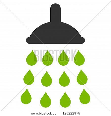 Shower vector icon. Shower icon symbol. Shower icon image. Shower icon picture. Shower pictogram. Flat eco green and gray shower icon. Isolated shower icon graphic. Shower icon illustration.
