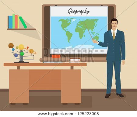 School Geography male teacher in audience class concept. Students and teachers science and education knowledge vector illustration