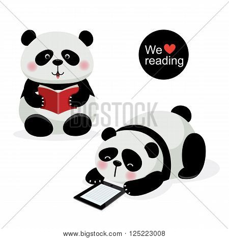 Vector illustration of two cute pandas with reading concept