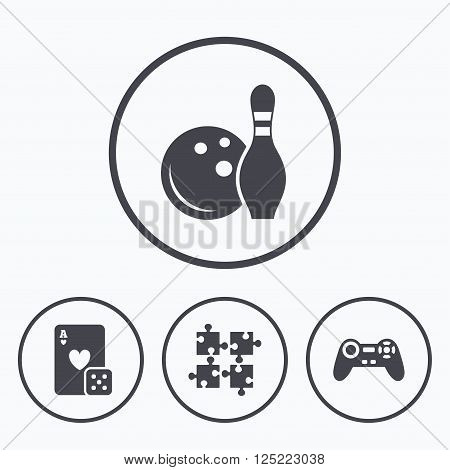 Bowling and Casino icons. Video game joystick and playing card with puzzles pieces symbols. Entertainment signs. Icons in circles.