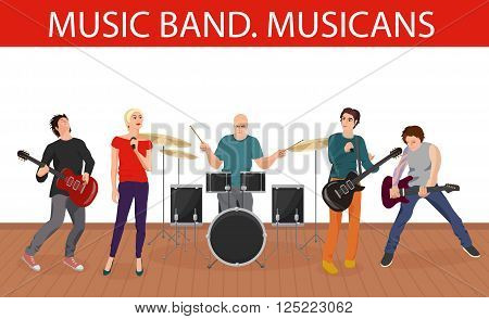Vector illustration of musicians music band. Group of young rock musicians