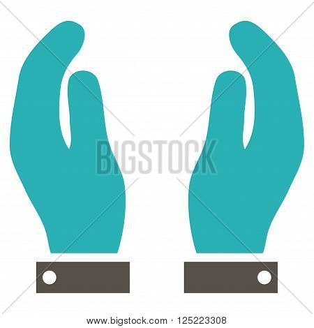 Care Hands vector icon. Care Hands icon symbol. Care Hands icon image. Care Hands icon picture. Care Hands pictogram. Flat grey and cyan care hands icon. Isolated care hands icon graphic.