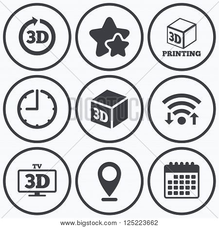 Clock, wifi and stars icons. 3d tv technology icons. Printer, rotation arrow sign symbols. Print cube. Calendar symbol.