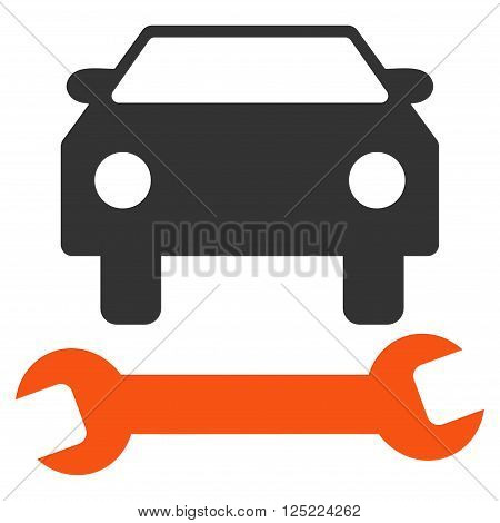 Car Repair vector icon. Car Repair icon symbol. Car Repair icon image. Car Repair icon picture. Car Repair pictogram. Flat orange and gray car repair icon. Isolated car repair icon graphic.