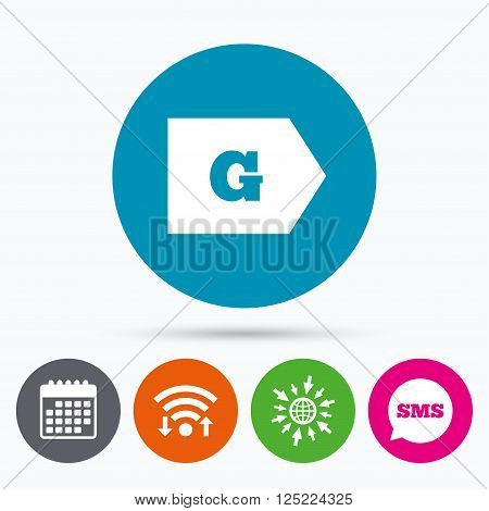 Wifi, Sms and calendar icons. Energy efficiency class G sign icon. Energy consumption symbol. Go to web globe.