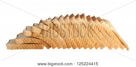 Loaf of sliced bread isolated on white background