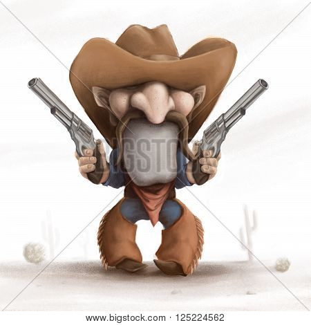 Cartoon cowboy with guns, illustration of the wild west