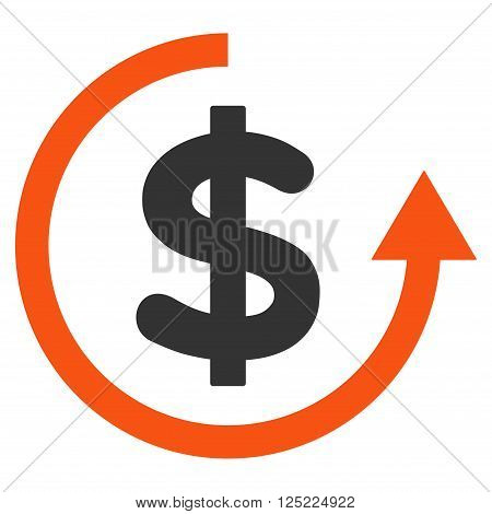 Refund vector icon. Refund icon symbol. Refund icon image. Refund icon picture. Refund pictogram. Flat orange and gray refund icon. Isolated refund icon graphic. Refund icon illustration.