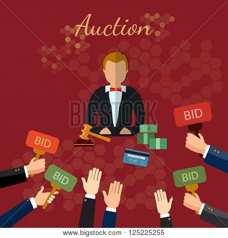 Auction and bidding concept set vector illustration